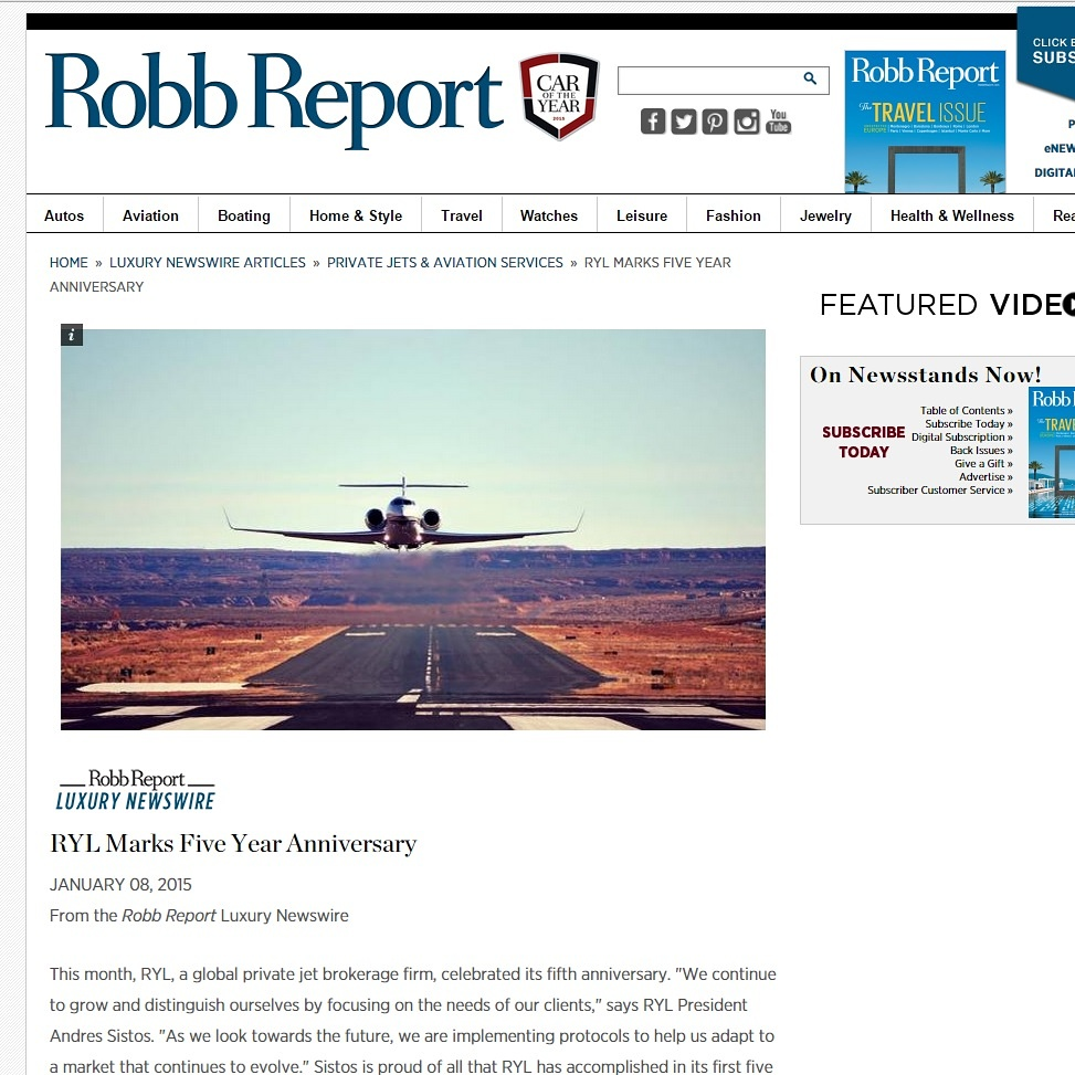Press Release on RYL- Robb Report